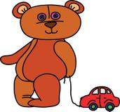 Miś z zabawkarskim samochodem royalty ilustracja