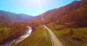 Mi à trajectoire aérienne au-dessus de la rivière et du pré frais de montagne au matin ensoleillé d'été Chemin de terre rural ci- clips vidéos