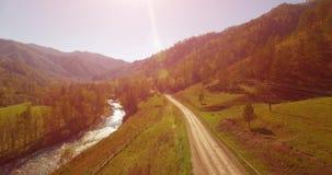 Mi à trajectoire aérienne au-dessus de la rivière et du pré frais de montagne au matin ensoleillé d'été Chemin de terre rural ci- banque de vidéos