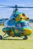 MI-2在空气的直升机在航空体育比赛期间致力DOSAAF第80周年  库存图片