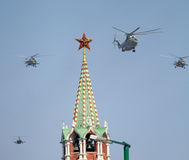 MI-8 multipurpose helicopters fly over Red Square Royalty Free Stock Photo