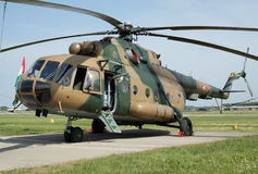 Mi-8 transport helicopter. LIEGE-BIERSET, BELGIUM - MAY 13: Hungarian Air Force Mi-8 Hip transport helicopter on display at Bierset Heli-meet May 13, 2007 in Stock Photo