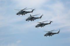 Mi-24 (Achterste) helikopters Stock Foto's