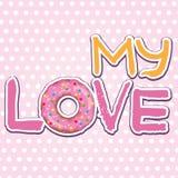 Mi amor Texto con el buñuelo Fotos de archivo