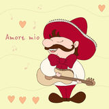 Mi amor y x28; Mio& x29 de Amore; Mexicano con el sombrero y la guitarra Ejemplo cómico de Sampl Tradición mexicana Fotos de archivo libres de regalías