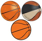 Vintage and Modern Basketballs with Realistic Dimples vector illustration