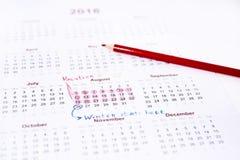 Mi calendario de las vacaciones del año 2018 Imagen de archivo