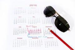 Mi calendario de las vacaciones del año 2018 Imagenes de archivo