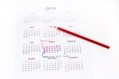 Mi calendario de las vacaciones del año 2018 Imagen de archivo libre de regalías