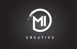 MI Circular Letter Logo with Circle Brush Design and Black Backg Stock Image
