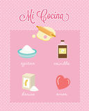 Mi Cocina My Kitchen Spanish Baking Ingredients Stock Photos