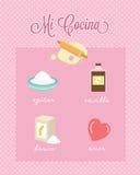 Mi Cocina My Kitchen Spanish Baking Ingredients. Illustration of baking ingredients from the kitchen. Sugar, vanilla, flour and love. Text in Spanish: Mi Cocina Stock Photos