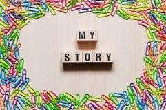 Mi concepto de las palabras de la historia imagenes de archivo