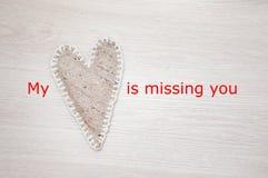 Mi corazón falta usted Imágenes de archivo libres de regalías