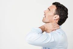 ¡Mi cuello, es demasiado doloroso! Imagen de archivo libre de regalías