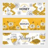 Mi?d etykietki Honeycomb i pszczół rocznik kreśli tło, ręka rysujący żywność organiczna retro projekt Wektorowa miodowa grafika royalty ilustracja