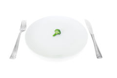 Mi dieta, bróculi en una placa blanca Imagen de archivo