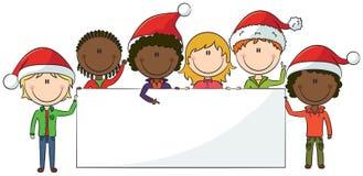 Mi?dos do Natal com bandeira Foto de Stock