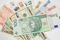 Międzynarodowe waluty Fotografia Royalty Free