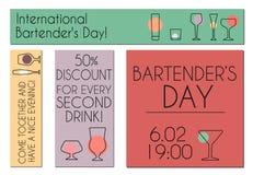 Międzynarodowi barmanu ` s dnia sztandary Obrazy Stock
