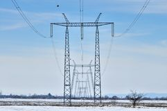 Międzynarodowy Elektryczny linia energetyczna widok Zdjęcie Royalty Free