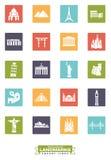 Międzynarodowych punktów zwrotnych kwadratowe ikony Obraz Royalty Free