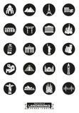 Międzynarodowych punktów zwrotnych round czarne ikony Fotografia Stock