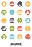 Międzynarodowych punktów zwrotnych round ikony Obraz Stock