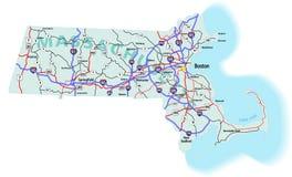 międzystanowy mapy Massachusetts stan Fotografia Royalty Free