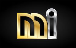 MI gold silver letter joint logo icon alphabet design. MI M I gold golden silver alphabet letter metal metallic grey black white background combination join Stock Photography