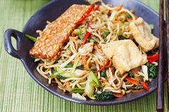 Mi goreng, mee goreng印度尼西亚烹调,辣混乱油煎了面条用tempeh和分类调味汁 图库摄影