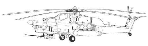 Mi 28 Havoc military attack combat helicopter. Russian Air Force Mil Mi 28 Havoc military attack combat helicopter in camouflage flying detail exterior wide stock illustration