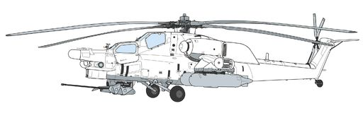 Mi 28 Havoc military attack combat helicopter. Russian Air Force Mil Mi 28 Havoc military attack combat helicopter in camouflage flying detail exterior wide royalty free illustration