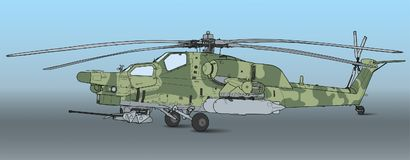 Mi 28 Havoc military attack combat helicopter. Russian Air Force Mil Mi 28 Havoc military attack combat helicopter in camouflage flying detail exterior wide vector illustration
