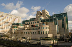 MI6 Headquarters, London. View of the headquarters of the UK's Secret Service, known as MI6.  The agency gathers intelligence and spies on people and countries Royalty Free Stock Photo