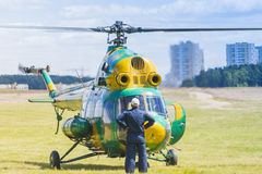 MI-2 Helicopter on Air During Aviation Sport Event Dedicated to the 80th Anniversary of DOSAAF Foundation Stock Photo