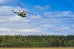 MI-2 Helicopter on Air During Aviation Sport Event Dedicated to the 80th Anniversary of DOSAAF Stock Photo