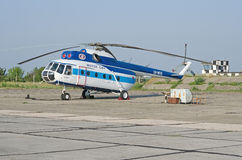 Mi-8 helicopter at an airfield in the Crimea Stock Photo