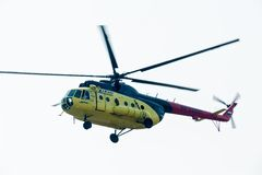 MI-8 helicopter flying Royalty Free Stock Photography