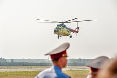 Mi 8 helicopter landing stock photos