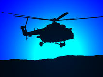 MI-17 helicopter in the night Royalty Free Stock Photo