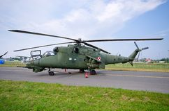Mi-24 Helicopter on Radom Airshow, Poland. Radom, Poland - August 26, 2017: Mi-24 Helicopter on Airshow Radom. One of most famous aviation events in central stock images