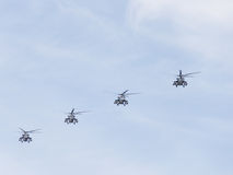 Mi-35 helicopters in the sky Stock Photo