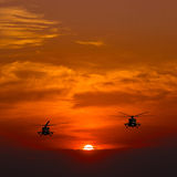 Mi-8 helicopters Royalty Free Stock Photos