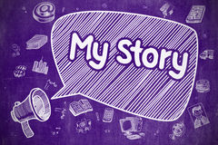 Mi historia - ejemplo de la historieta en la pizarra púrpura Foto de archivo libre de regalías