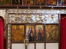 Fragment of interior of the  Greek Catholic Church in Mi`ilya in Israel. Mi`ilya, Israel, December 22, 2017 : Fragment of interior of the Greek Catholic Church Royalty Free Stock Image