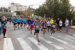 Start of the annual race `Cristmas Run` in Mi`ilya in Israel Royalty Free Stock Images