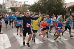 Start of the annual race `Cristmas Run` in Mi`ilya in Israel Royalty Free Stock Image