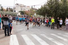 Start of the annual race `Cristmas Run` in Mi`ilya in Israel Royalty Free Stock Photo