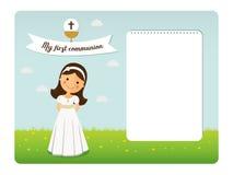 Mi invitación horizontal de la primera comunión stock de ilustración